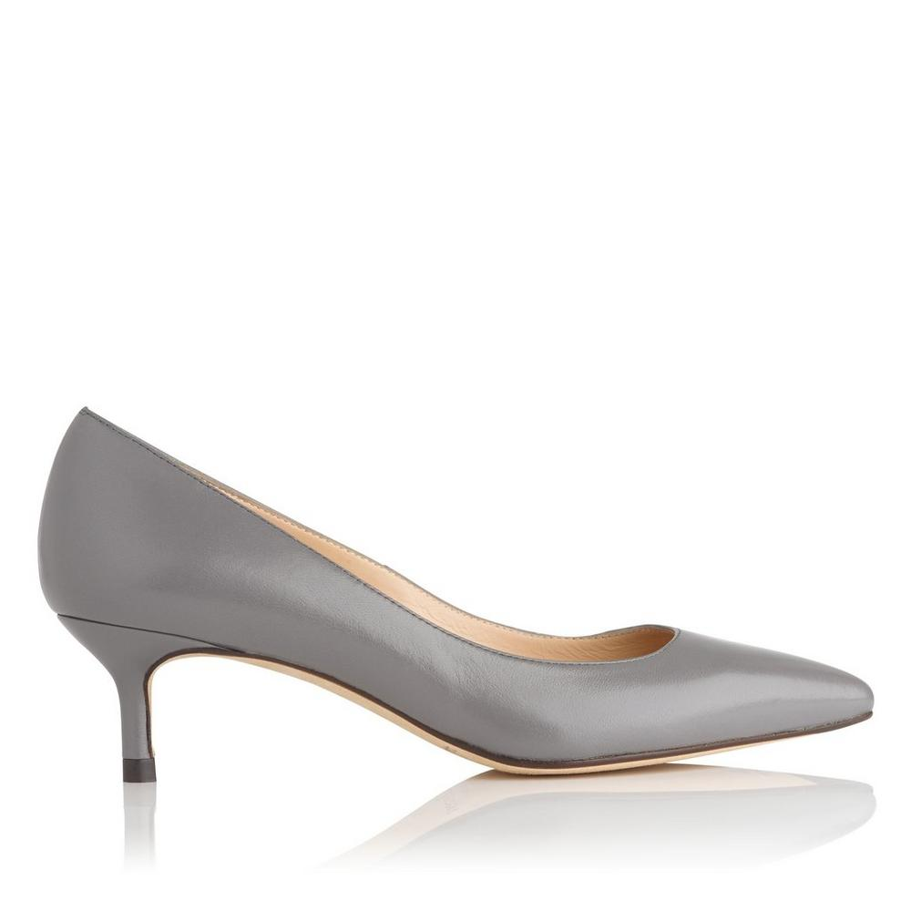 LK BENNETT Audrey leather kitten heel courts Grywarm grey  I2P3VK2C6