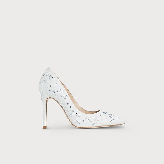 Fern Ivory Satin Crystals Closed Courts