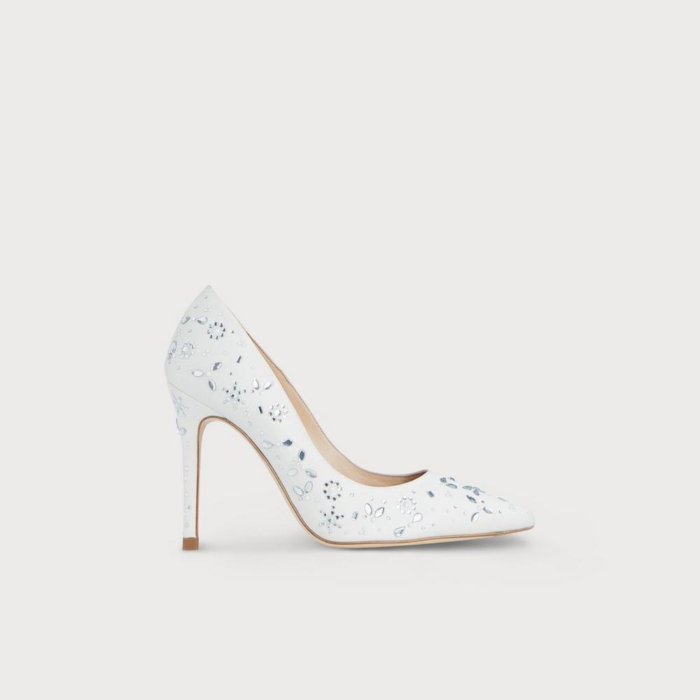 799d98bf841e Fern Ivory Satin Crystals Pointed Toe Courts. LKB X JENNY PACKHAMFern Ivory  Satin Crystals Pointed Toe Courts