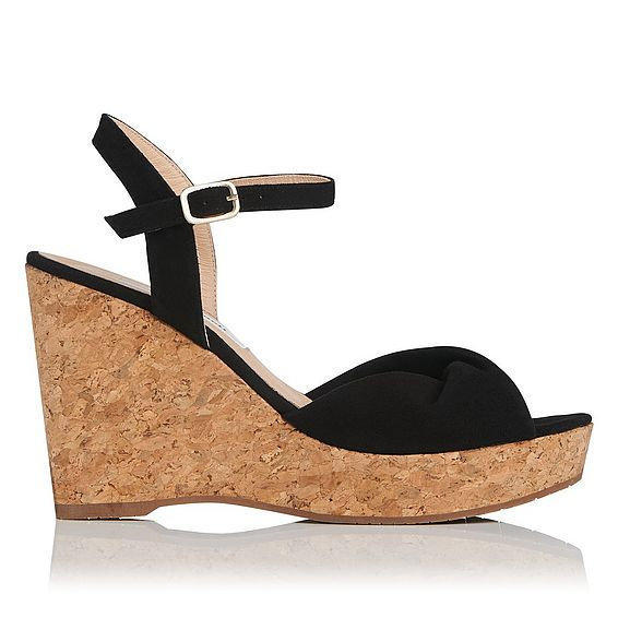 Adeline Black Suede Sandals