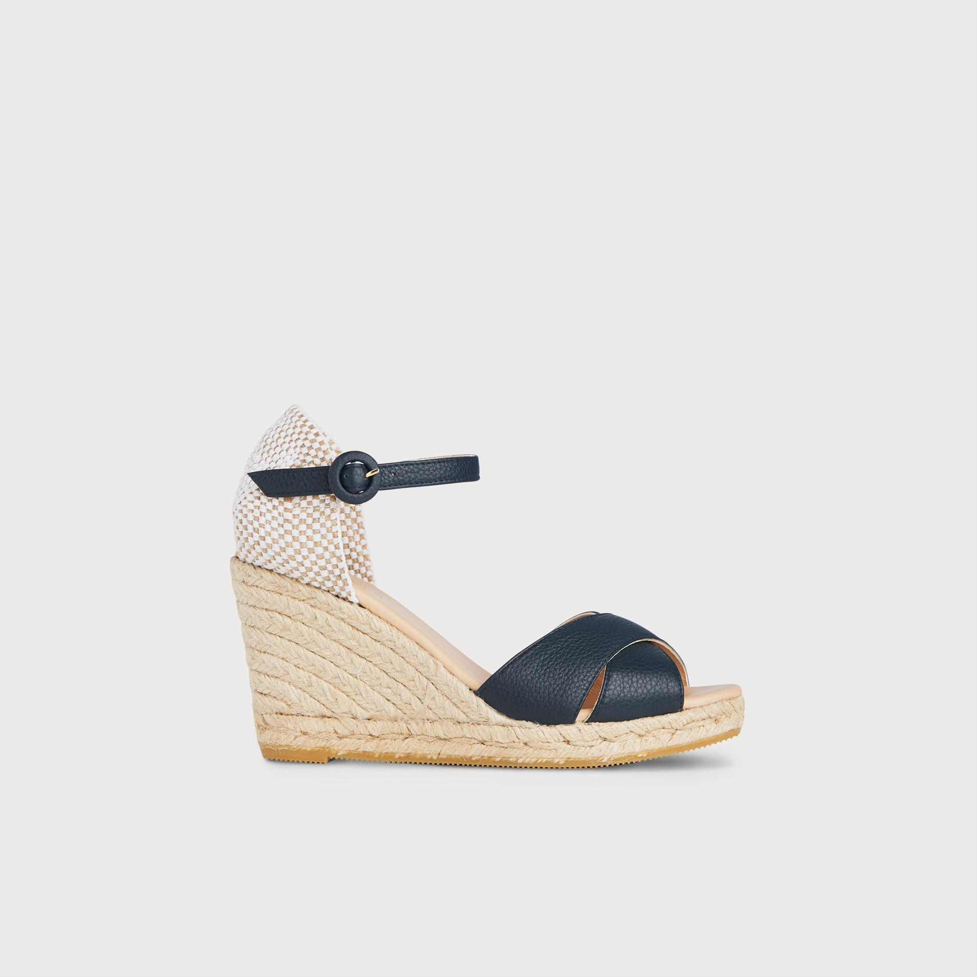 Angele Navy Leather Espadrille Sandals