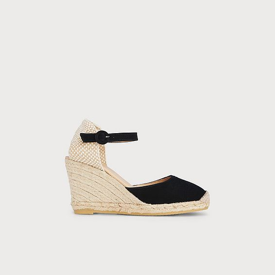 Harrison Black Suede Espadrille Sandals