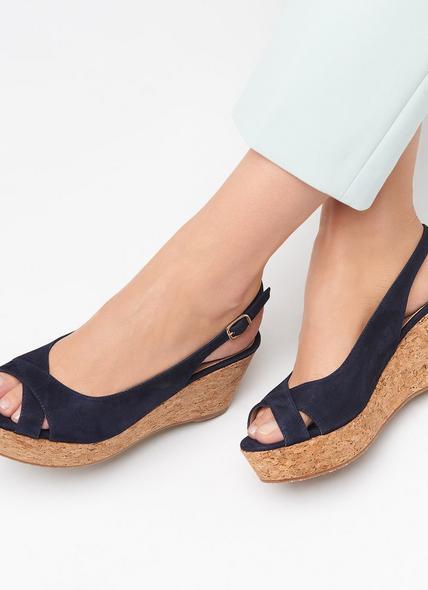 Marcia Navy Suede Sandals