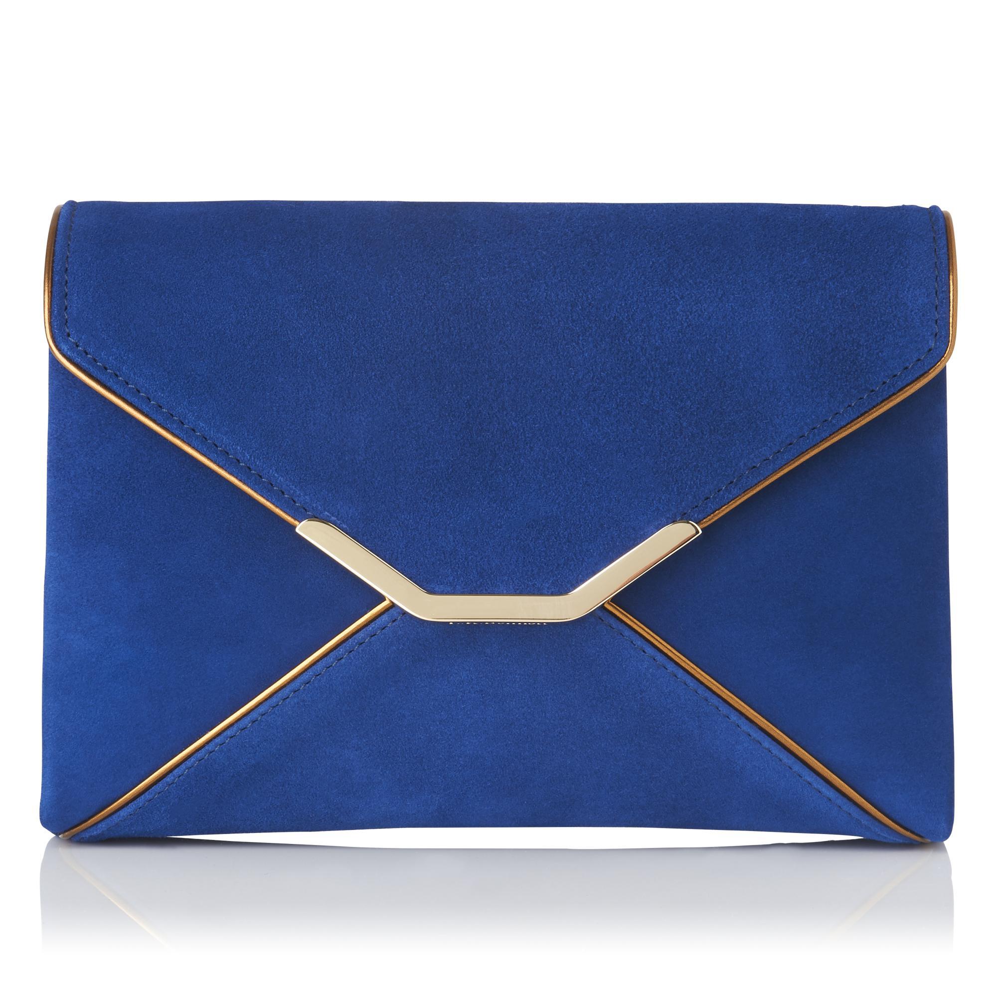 Alena Blue Suede Mirror Clutch