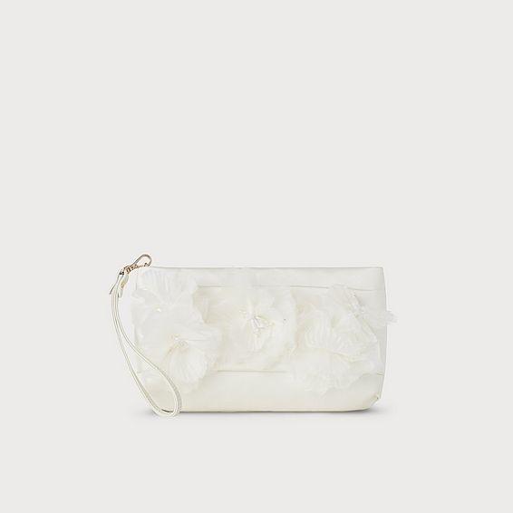 Beatrice Ivory Satin Clutch Bag
