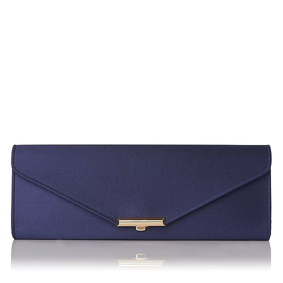 Cecilia Navy Satin Clutch