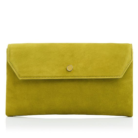 Dora Dark Citrine Suede Clutch Bag