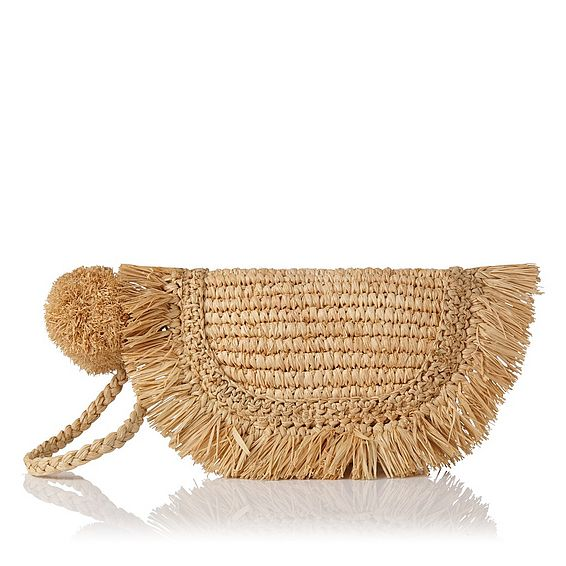 Lucille Brown Raffia Clutch