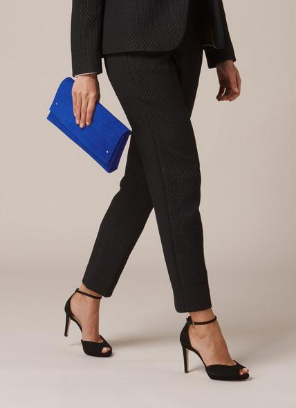 Madeline Blue Suede Clutch