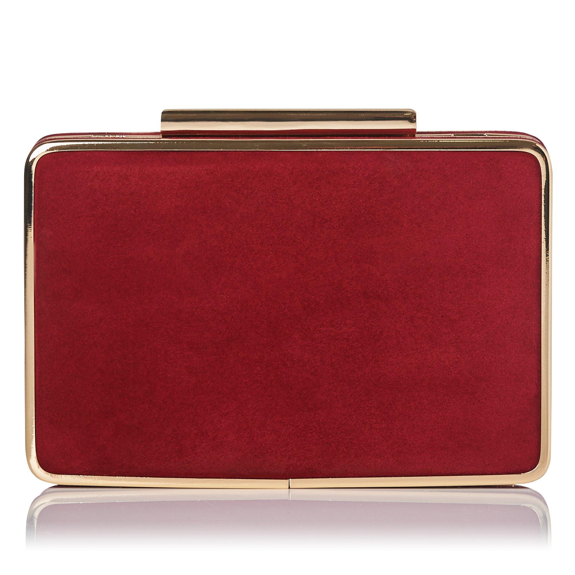 Nina Red Suede Clutch
