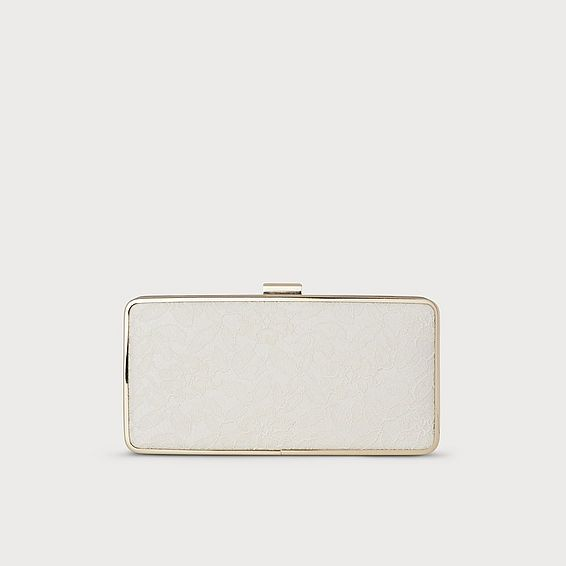 Nora Ivory Lace Nappa Clutch