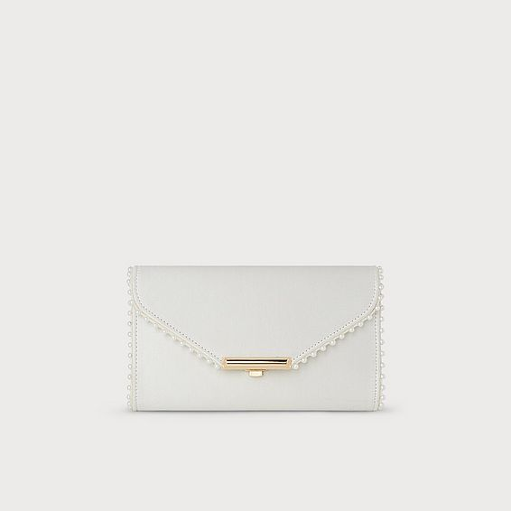 Sissi Ivory Satin Clutch Bag