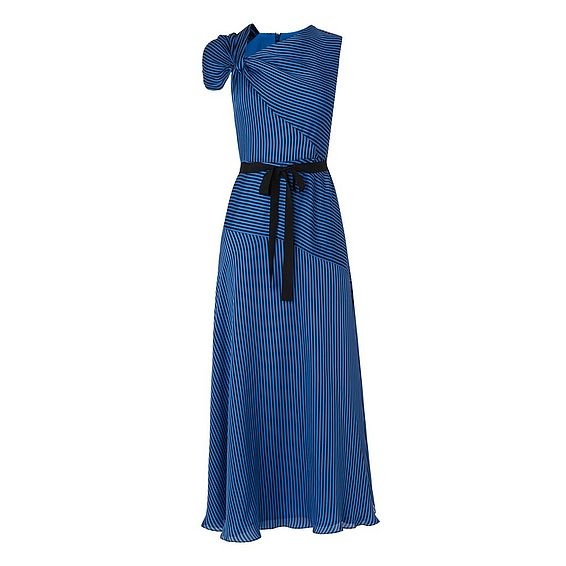 Belle Blue Black Silk Dress