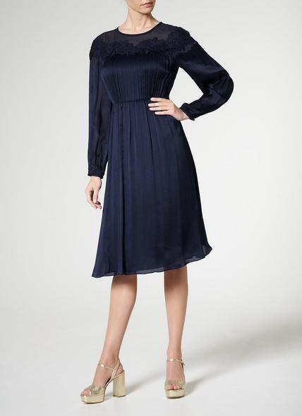 Isabel Navy Silk Dress
