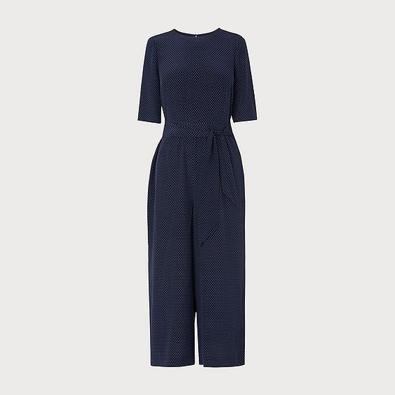 Loren Navy White Silk Jumpsuit