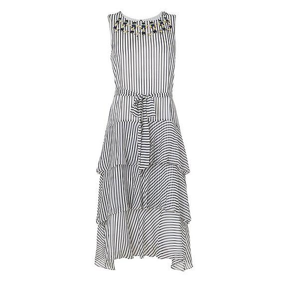 Nesta Blue Cream Silk Dress