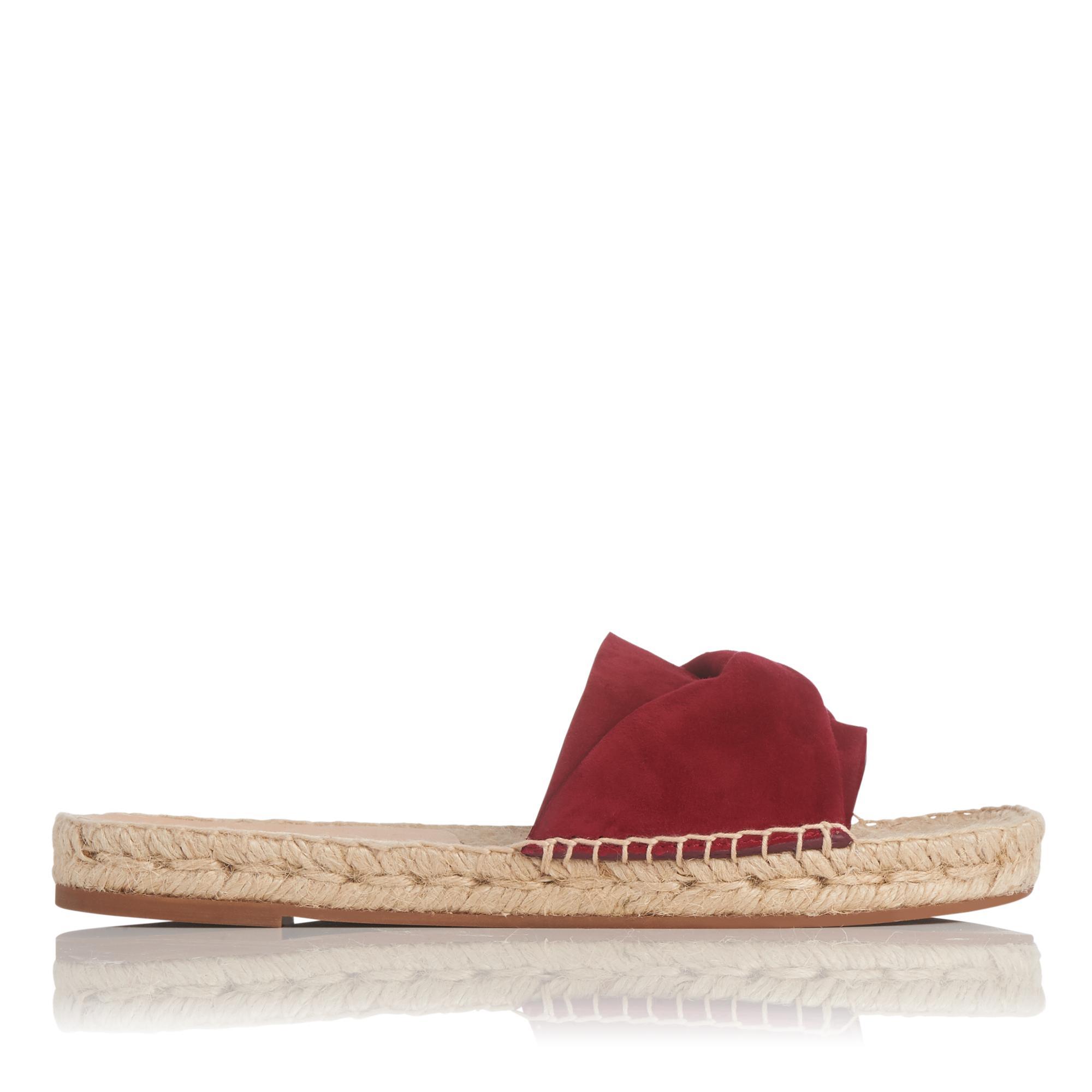 Alena Poppy Suede Flat Espadrille Sandals