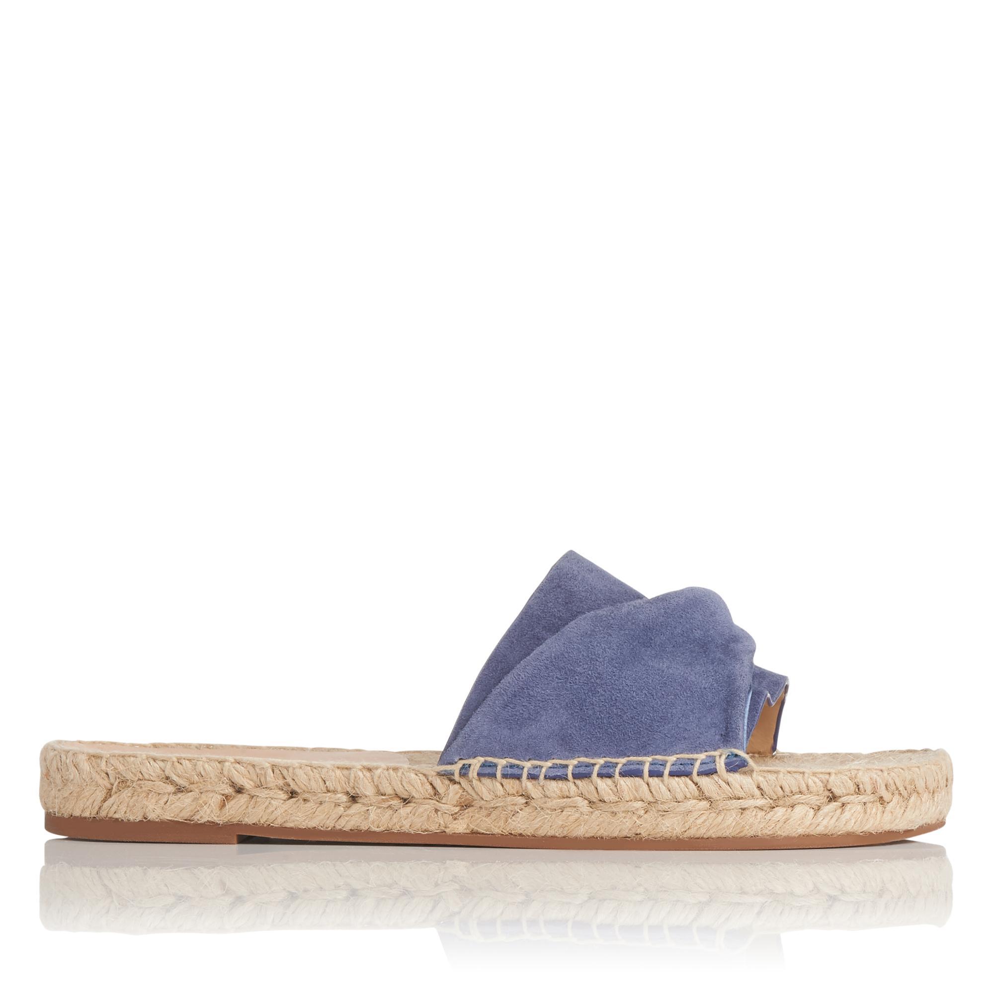 Alena Blue Suede Satin Flat Espadrille Sandals