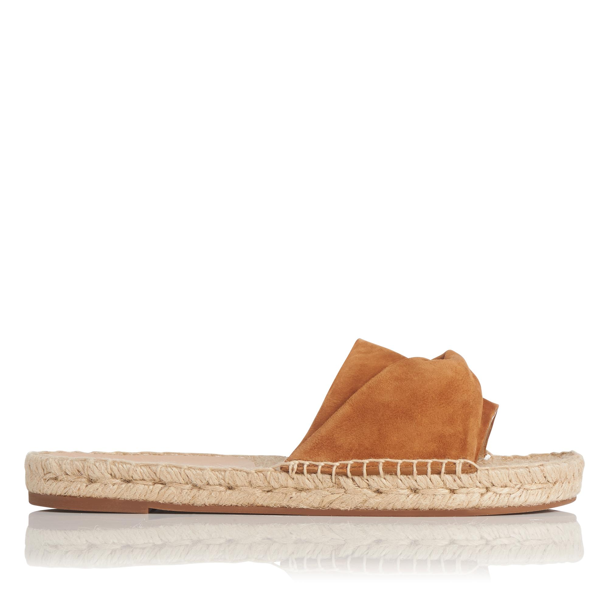 Alena Tan Suede Flat Espadrille Sandals