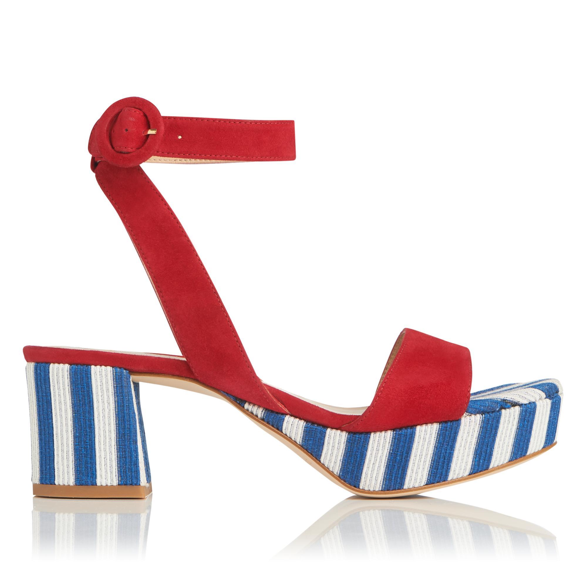 Alie Blue White Suede Sandals