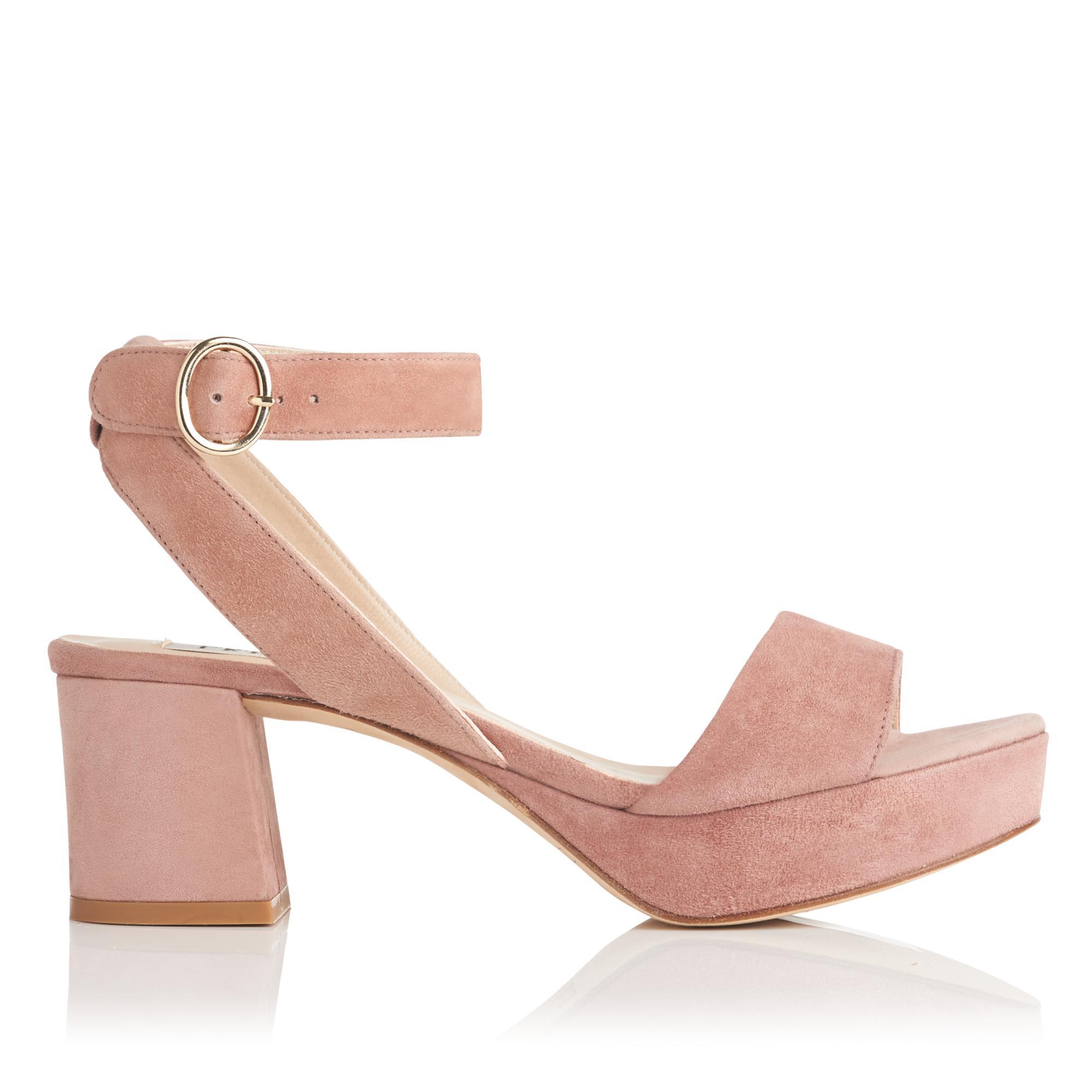 Alie Dark Pink Suede Sandals