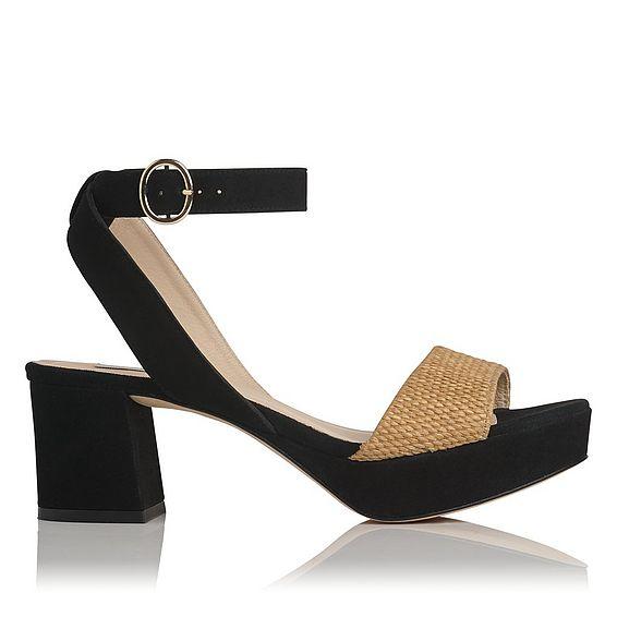 Alie Black Suede Sandals