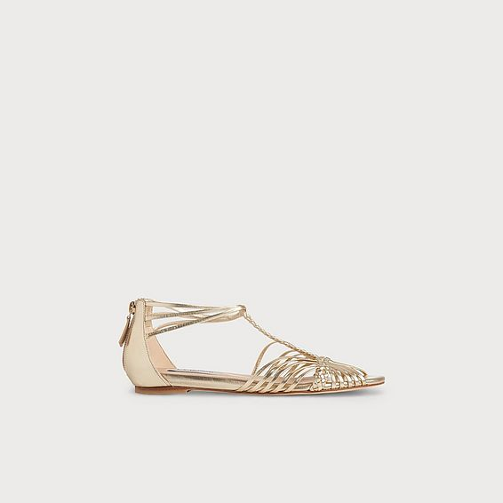 Deedee Gold Leather Flat Sandals