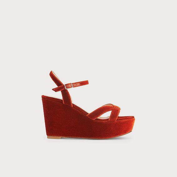 Henuita Red Velvet Sandals