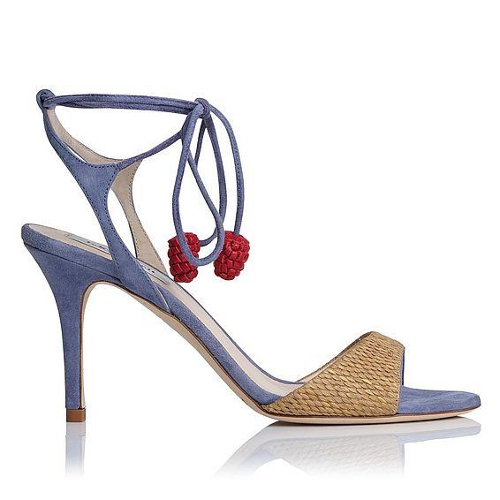 Olivia Blue Raffia Suede Sandals