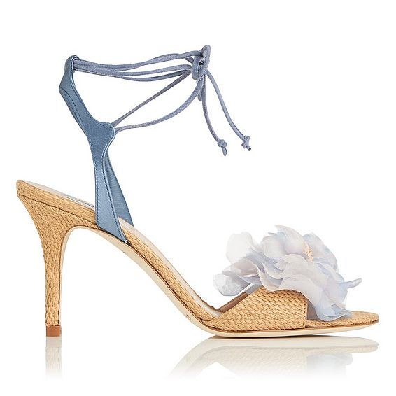 Scarlet Blue Raffia Satin Sandals