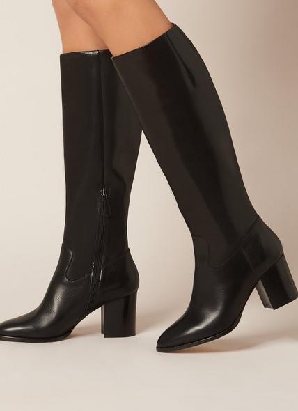 Phoenix Black Leather Knee Boots