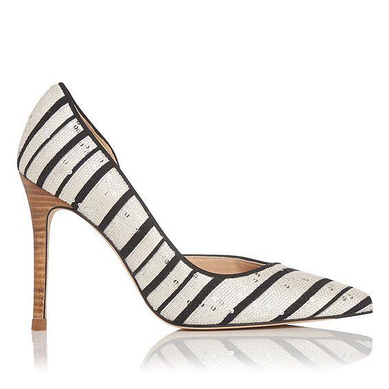 Zara Black White Jacquard Courts