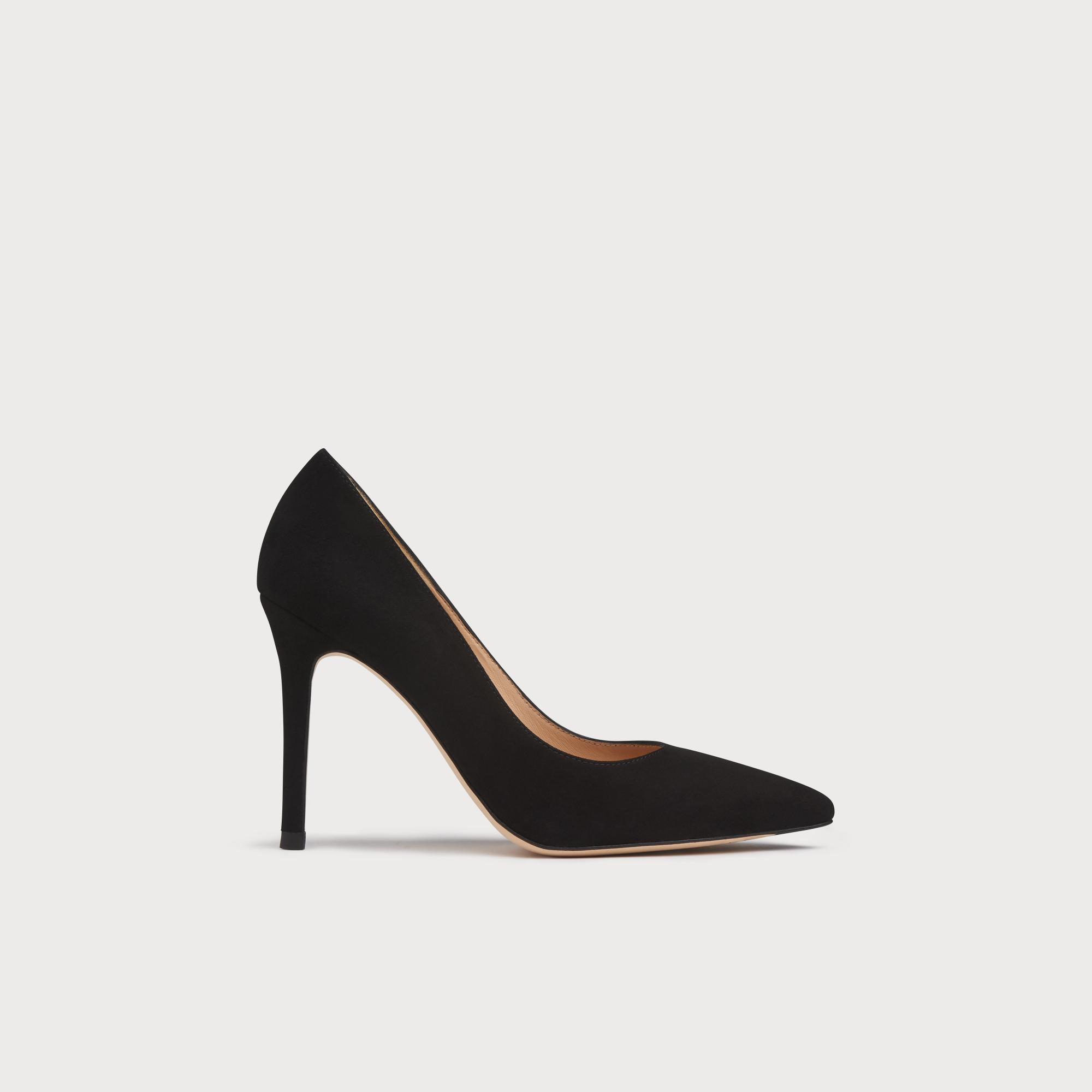 1b503f29591 Fern Black Suede Pointed Toe Courts