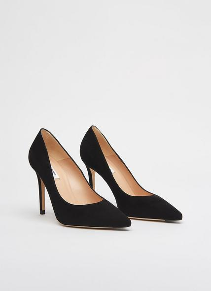 Fern Black Suede Pointed Toe Courts
