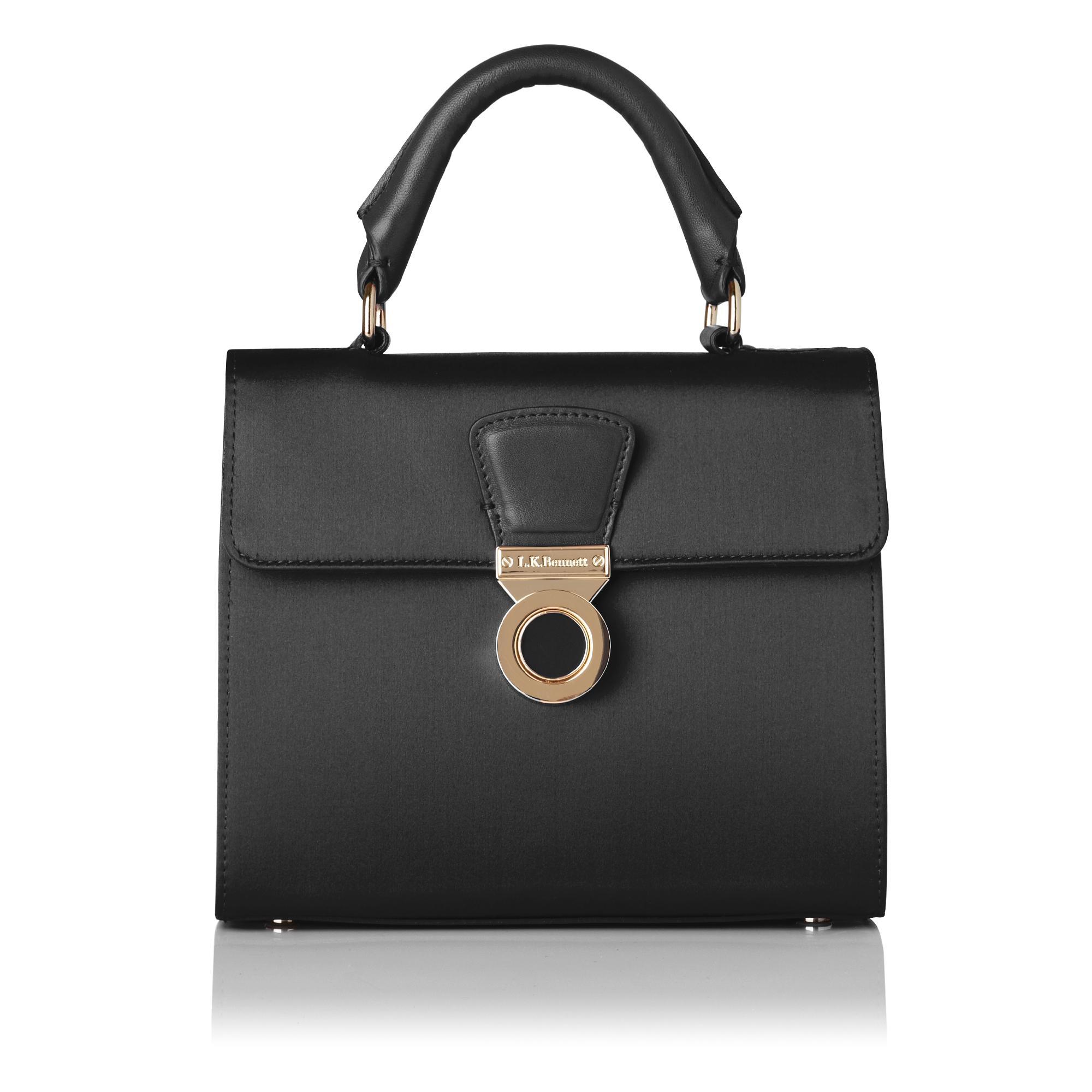 Amelia Black Satin Shoulder Bag