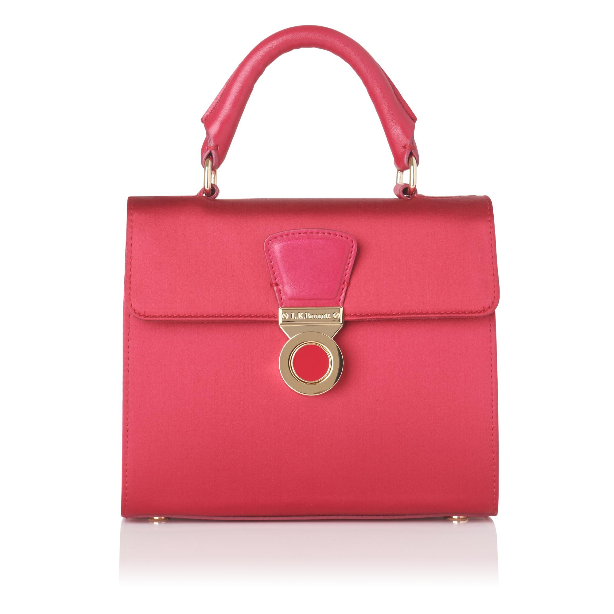 Amelia Raspberry Satin Shoulder Bag