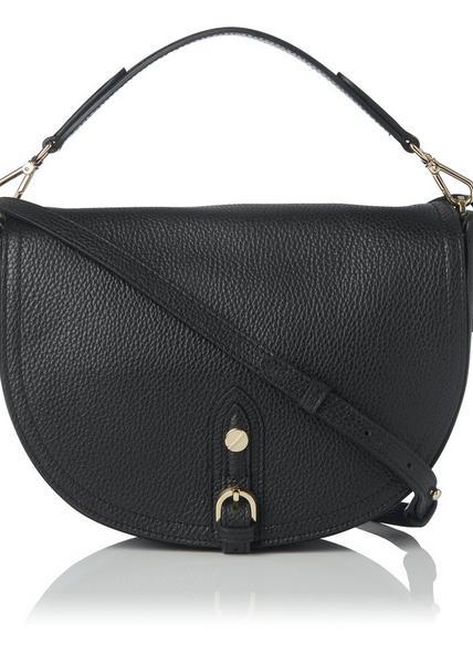 Andrea Black Leather Shoulder Bag