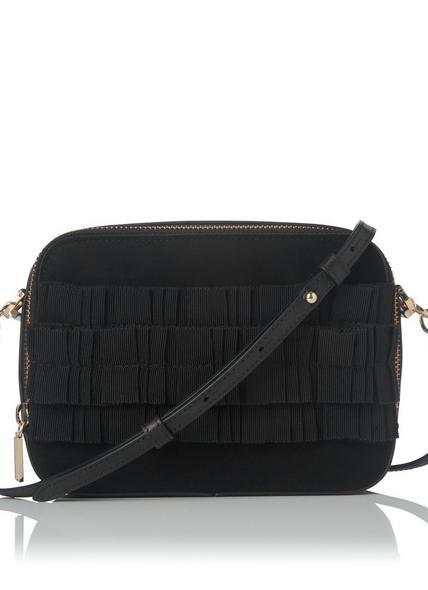Mia Black Suede Shoulder Bag