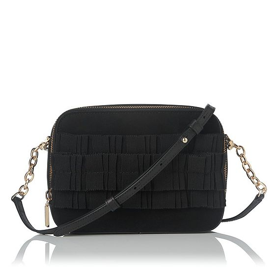 Mia Black Suede Shoulder Bag