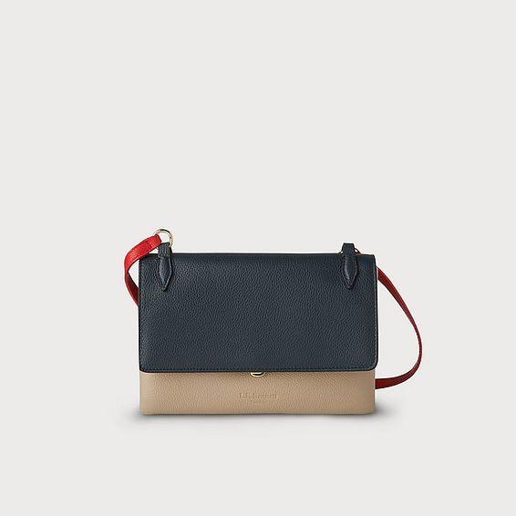 Patricia Navy Leather Shoulder Bag