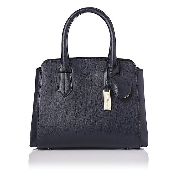 Cassandra Navy Leather Tote Bag