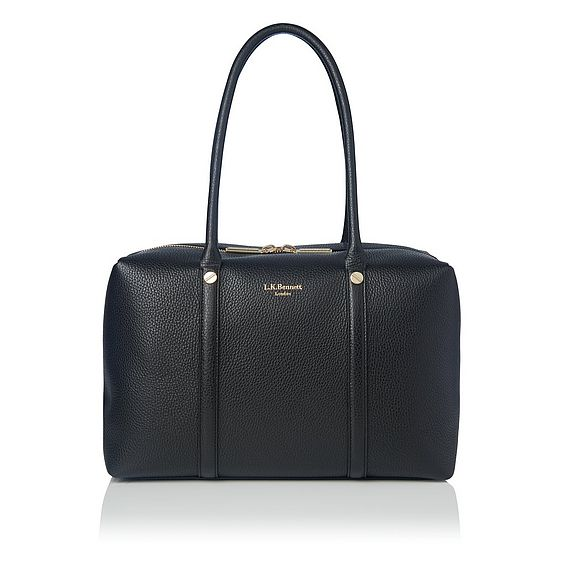 Cristina Black Leather Tote Bag