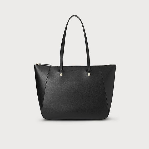 Marcia Black Leather Tote Bag