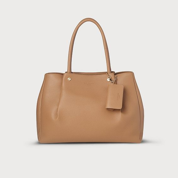 Regan Tan Leather Tote Bag