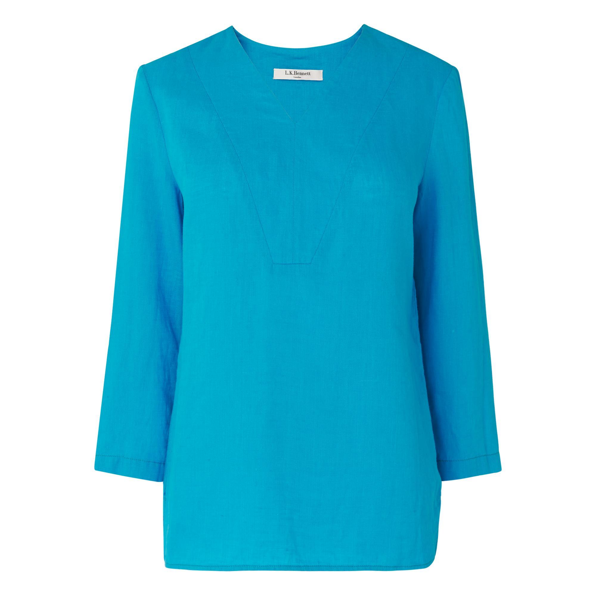 Alania Blue Linen Woven Top