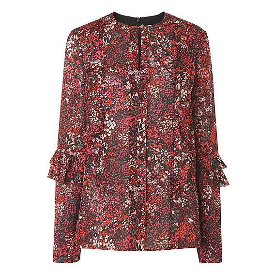 Robin Red Floral Silk Woven Top