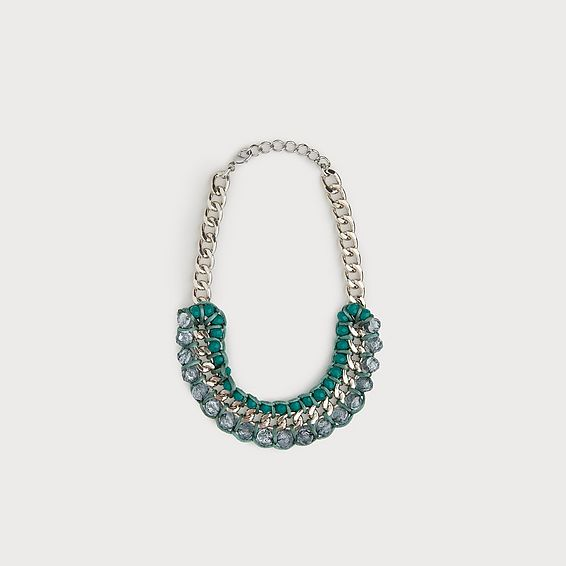 Bailey Green Silver Statement Necklace
