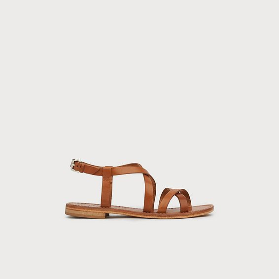 Fallon Tan Leather Greek Sandals
