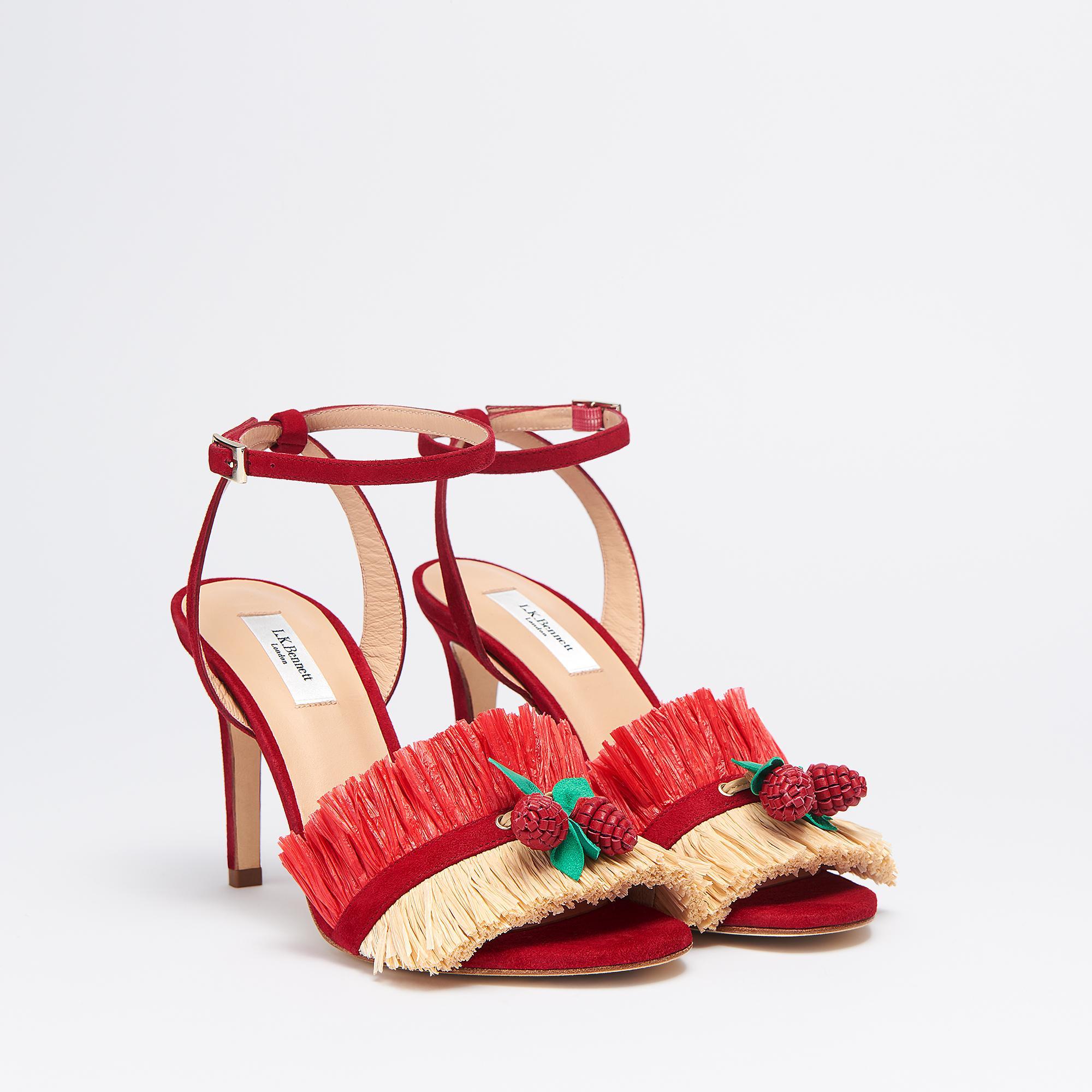 1fc5dccc7e7 Ruby Suede Raspberry Trim Sandals