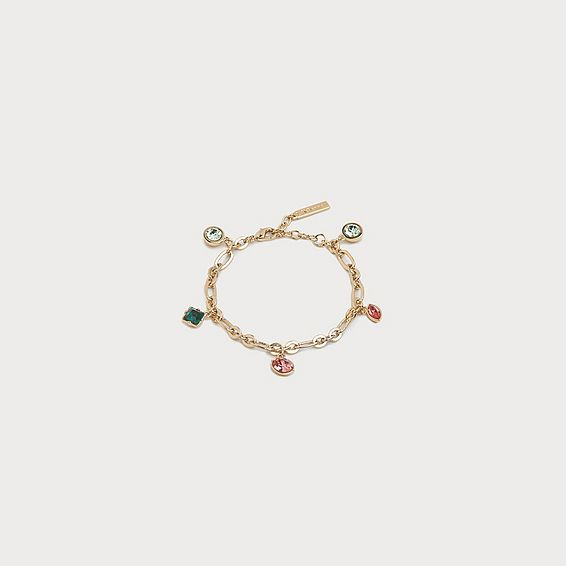 Lulu Coral Crystal Charm Bracelet